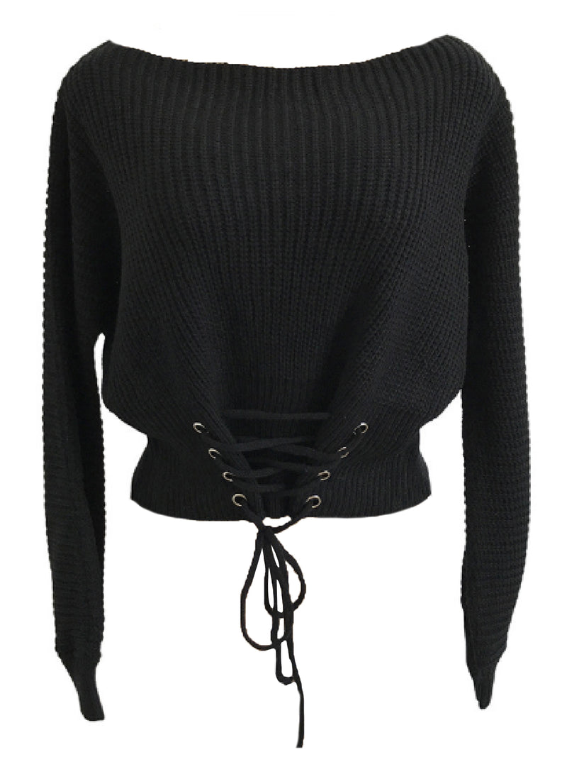 'Edrea' Laced Up Front Waist Boat Neck Sweater (3 Colors)