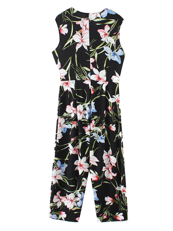 'Perla' Tropical Print V-Neck Jumpsuit