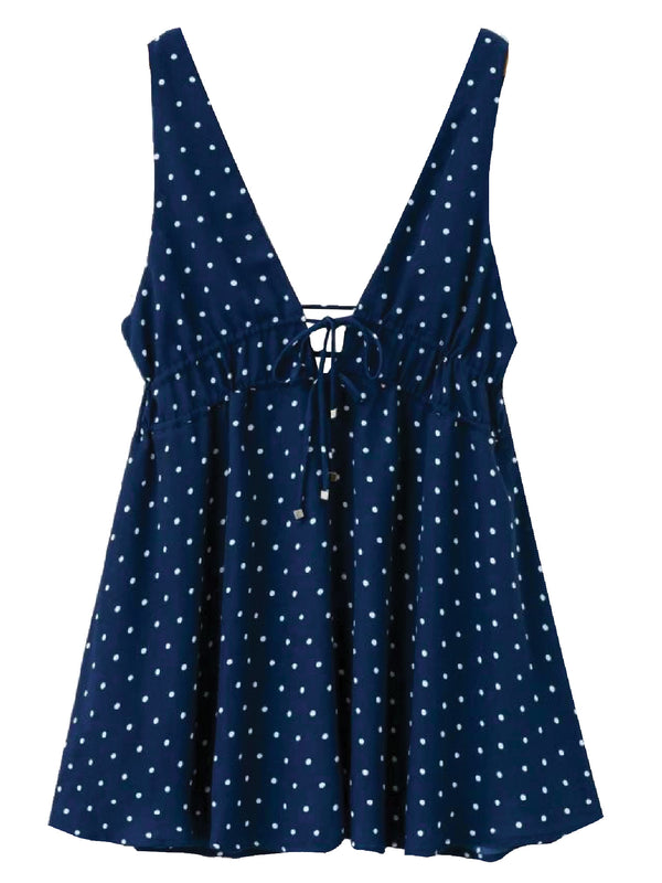 'Germaine' Polka Dot Tied Front Mini Dress (2 Colors)