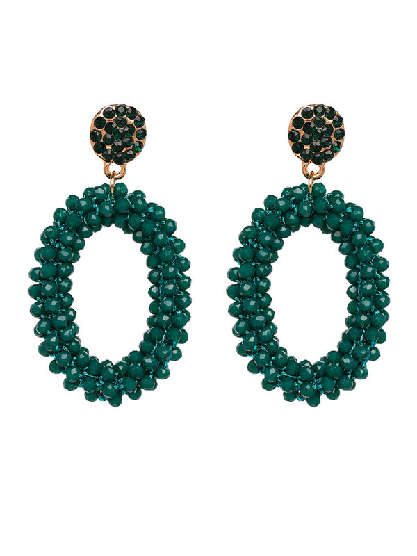 'Natalie' Oval Beaded Drop Earrings (7 Colors)