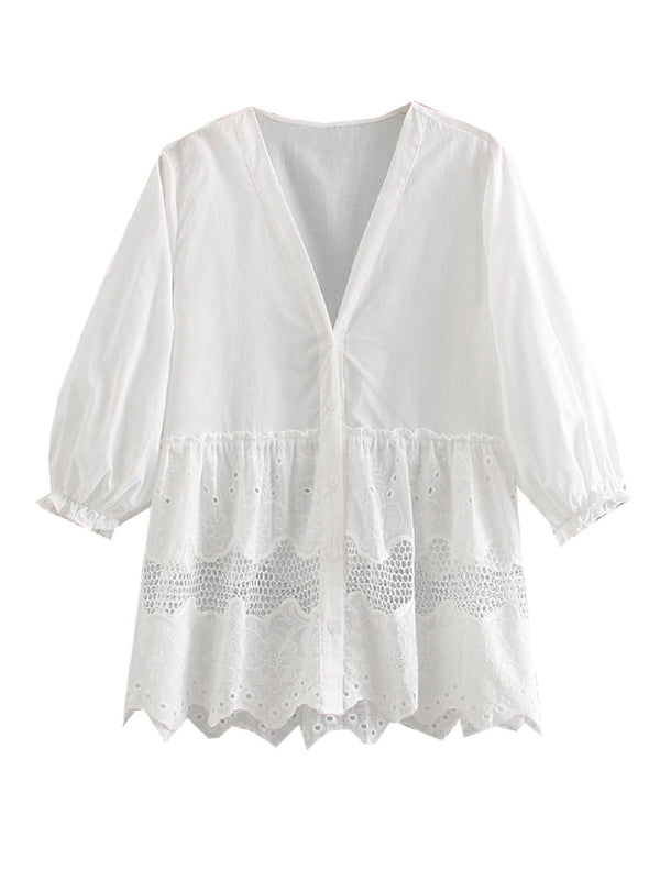'Terese' Puff Sleeve Cut-Out Eyelet Top
