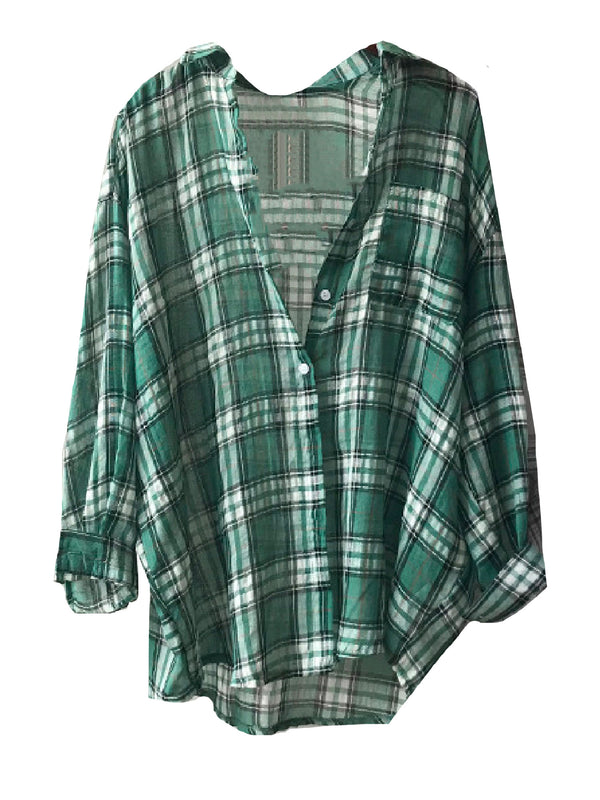 'Jamie' Lightweight Oversized Plaid Shirt (2 Colors)