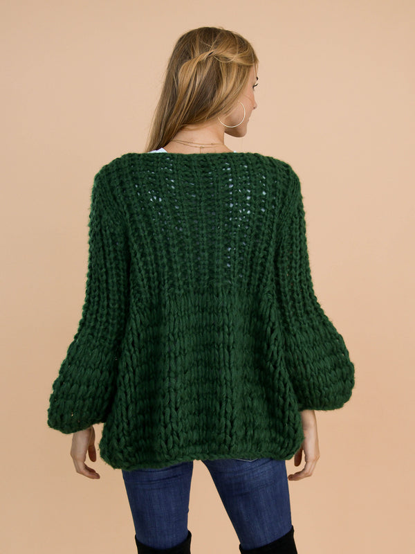 Goodnight Macaroon 'Lillibeth' Green Chunky Knit Open Cardigan Model Back Half Body