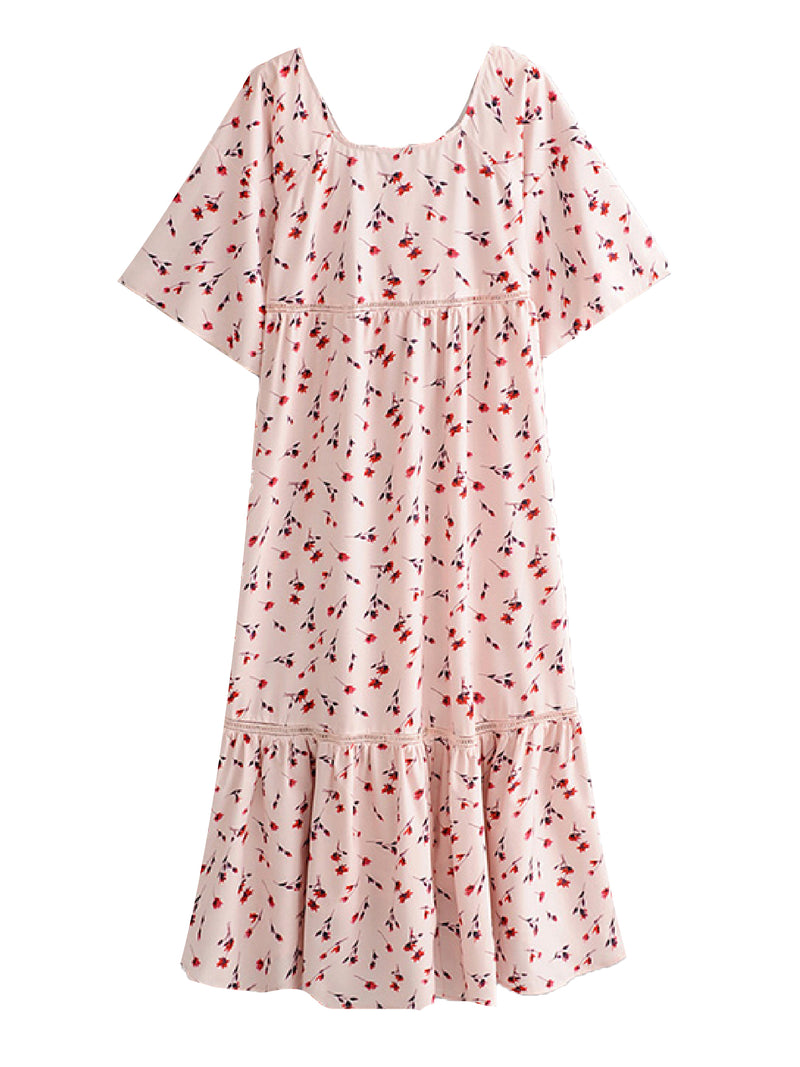 'Presley' Floral Front Tied Ruffled Midi Dress