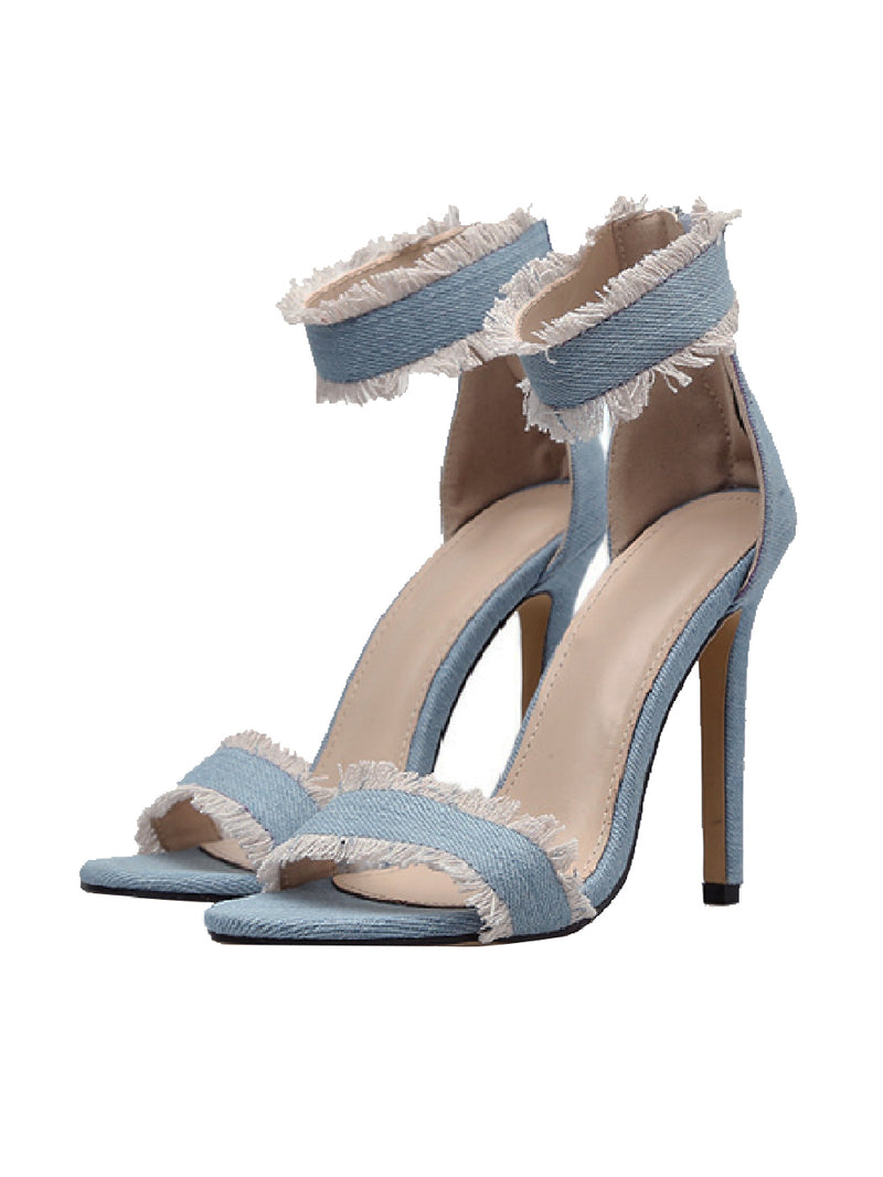 Goodnight Macaroon 'Della' Denim High Heeled Ankle Strap Sandals Pair