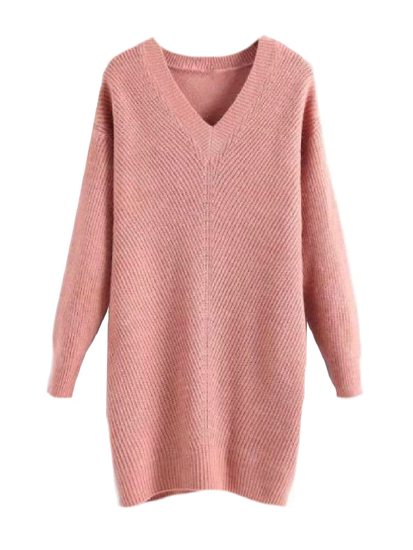 Goodnight Macaroon 'Hazel' V-Neck Rib Knitted Oversized Sweater Pink Front