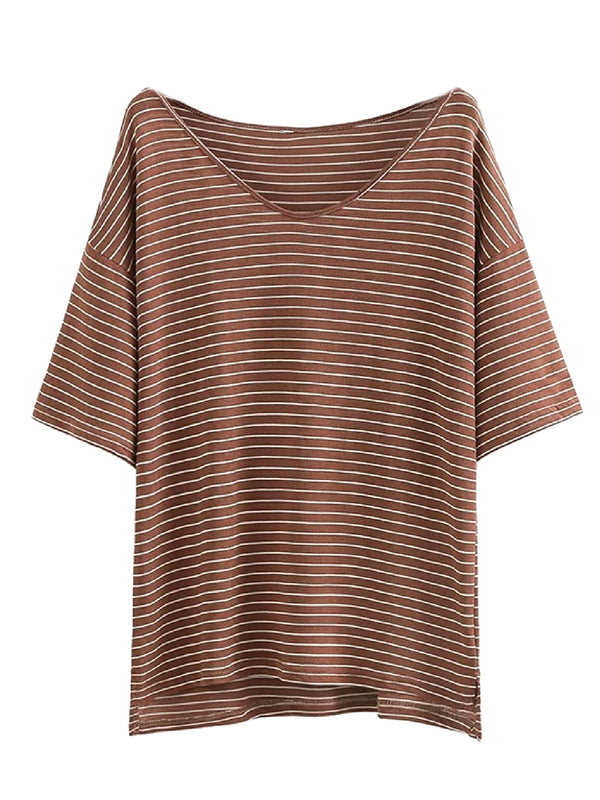 Goodnight Macaroon 'Alora' Oversized Striped T-Shirt Brown Front