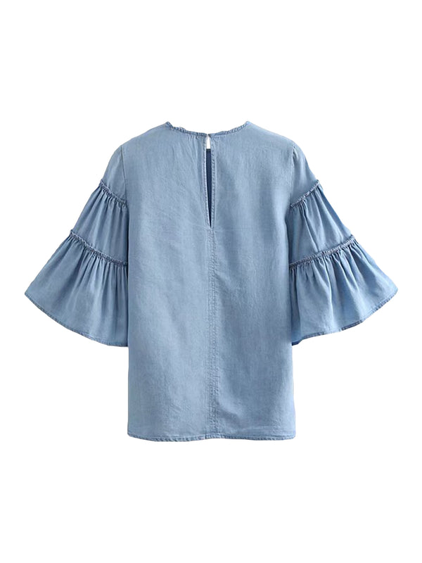 'Nancy' Chambray Ruffled Sleeved Top