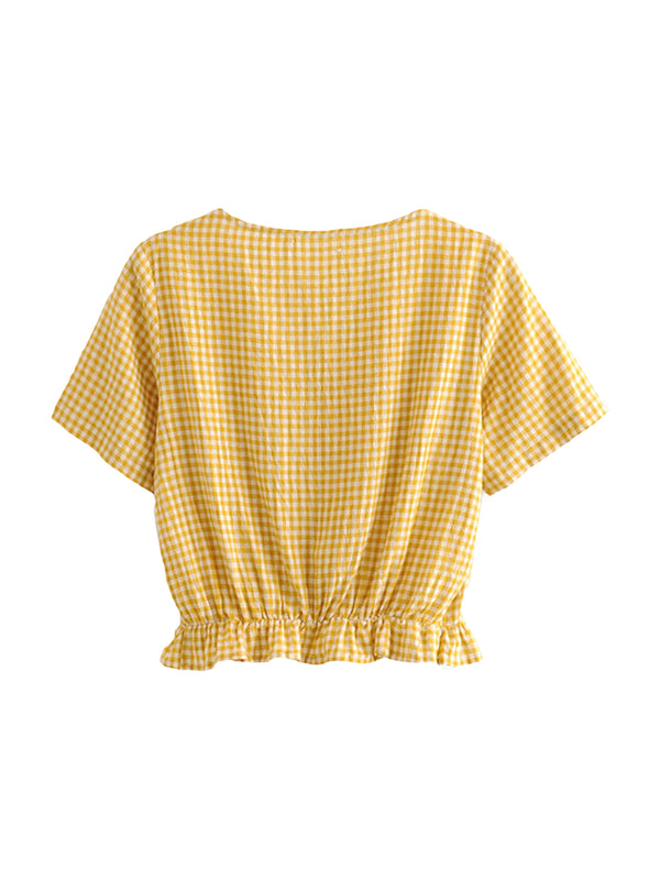 'Jacey' Gingham Ruched Front Top