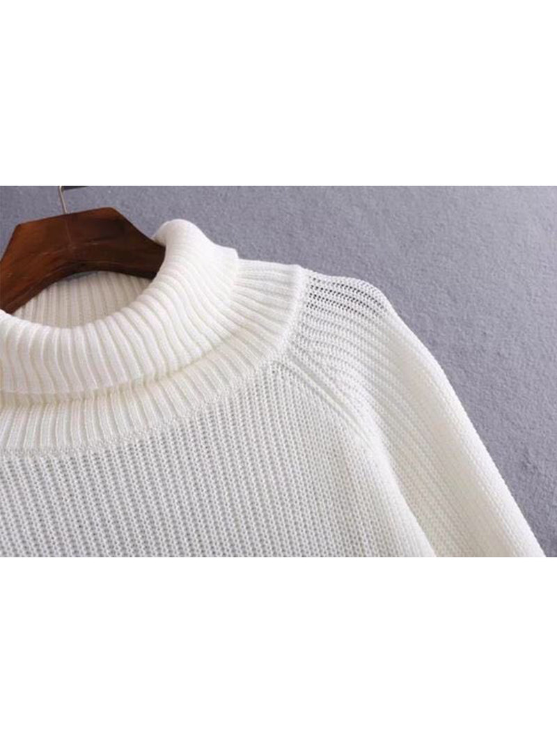 'Ivy' White Turtleneck Sweater by Champagne & Chanel