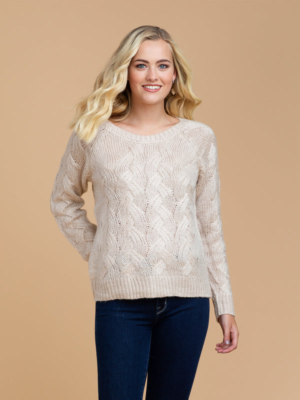 Goodnight Macaroon 'Perrie' Braided Knit Crew Neck Sweater Model Half Body Front