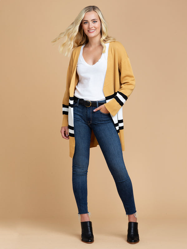 Goodnight Macaroon 'Linda' Yellow Color Block Open Cardigan Model Full Body Front