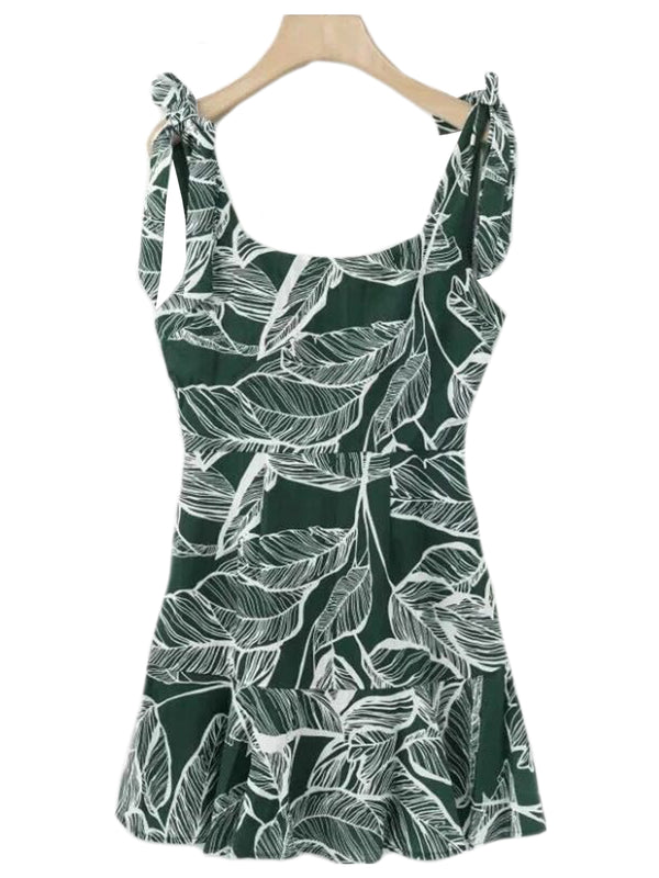 'Nickie' Tied Strap Leaf Pattern Dress (2 Colors)
