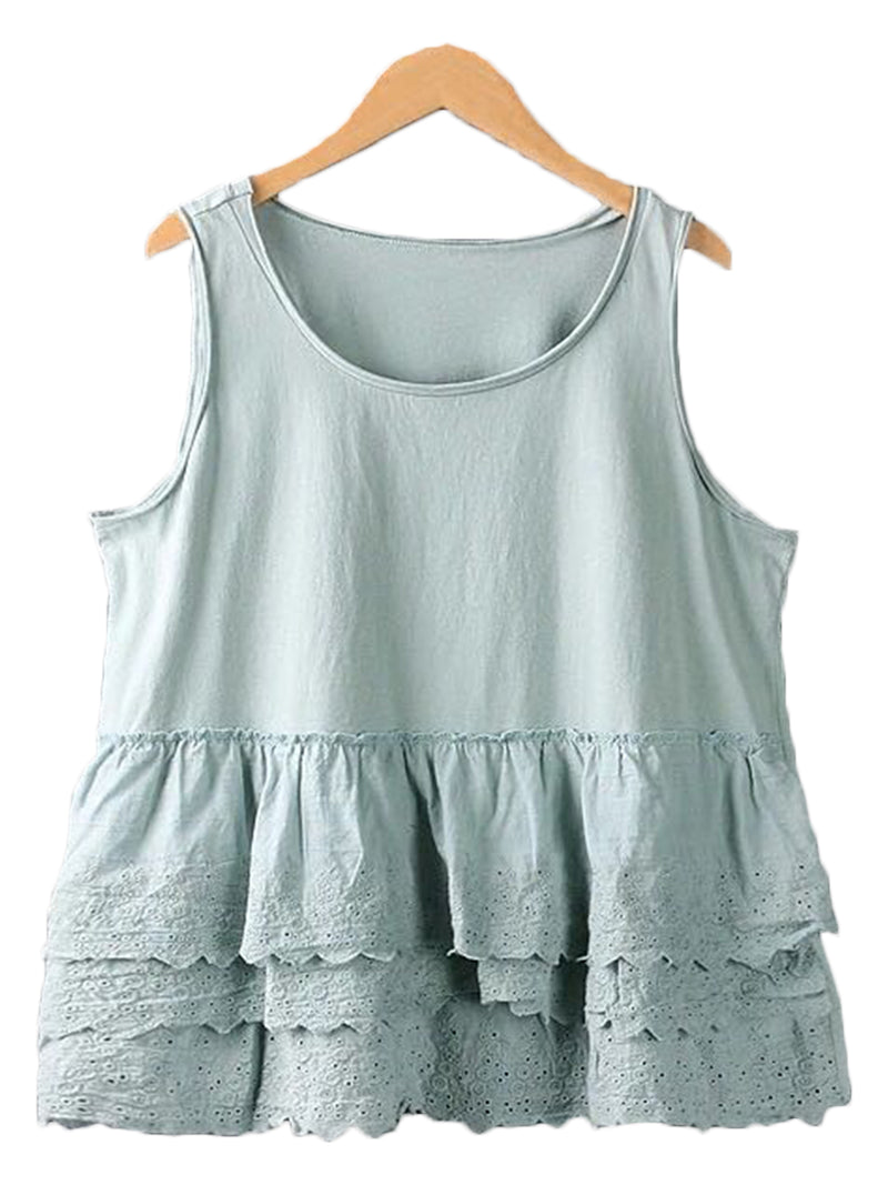 'Rana' Ruffle Lace Sleeveless Top (3 Colors)