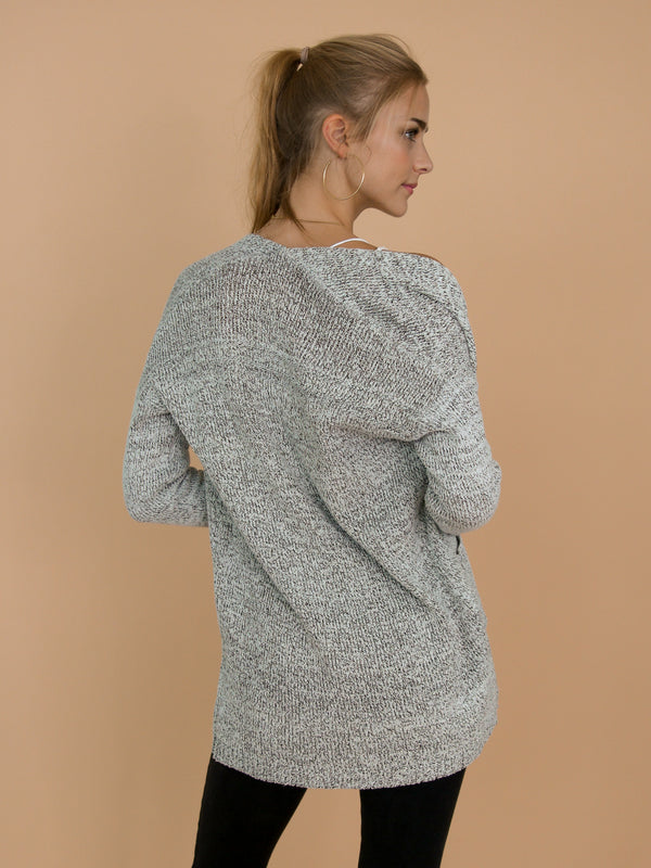 Goodnight Macaroon 'Nata' Lightweight Mixed-Knit Open Cardigan Model Back Half Body