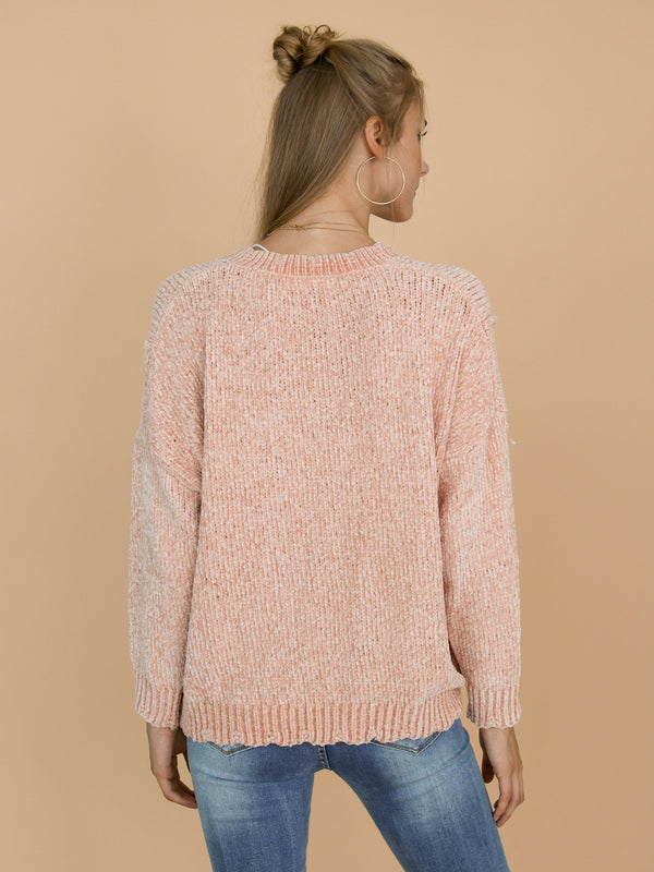 Goodnight Macaroon 'Jenna' V-Neck Chenille Ribbed Oversized Sweater Model Back Half Body