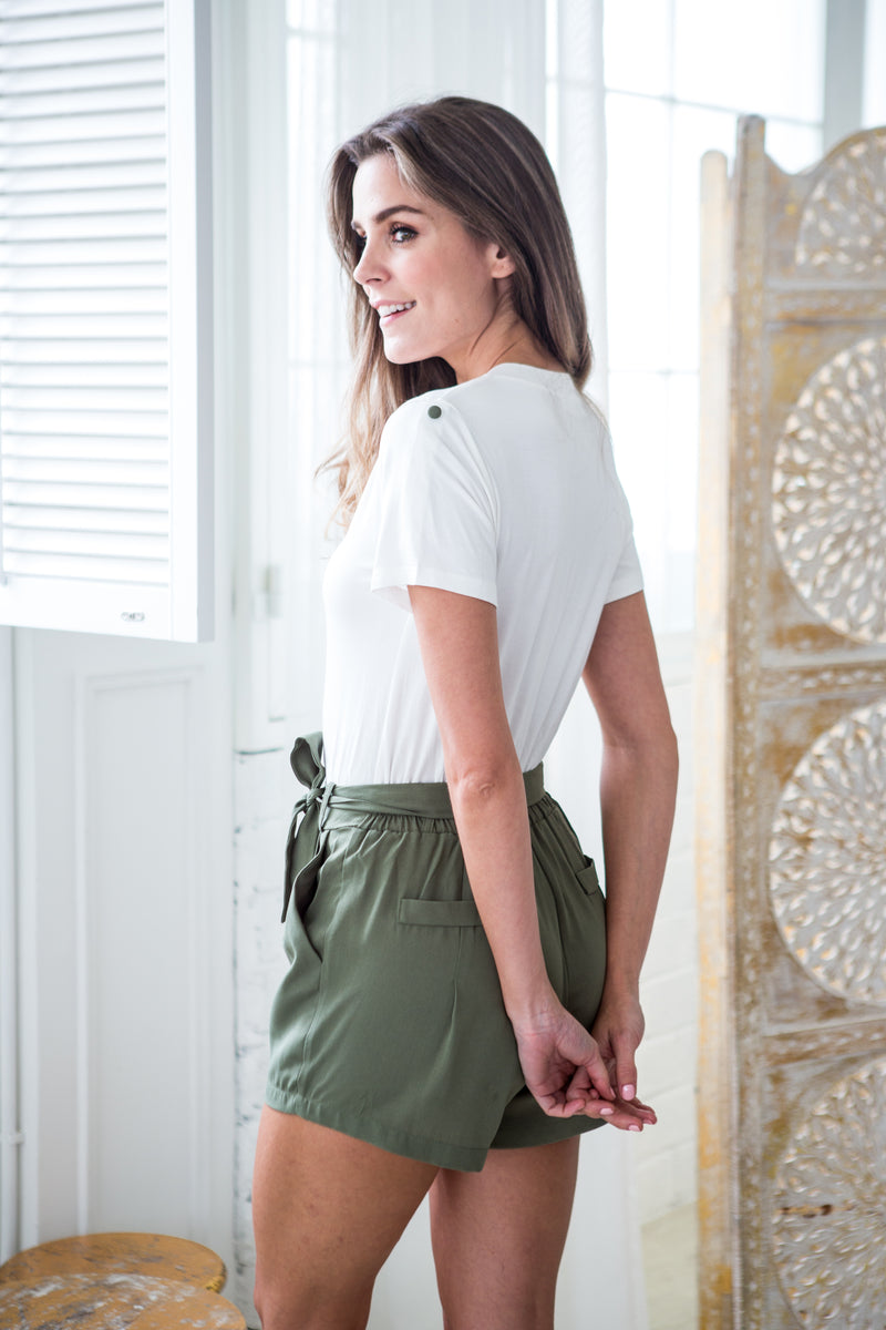 'Halston' Button Down Short Sleeved Military Green Romper