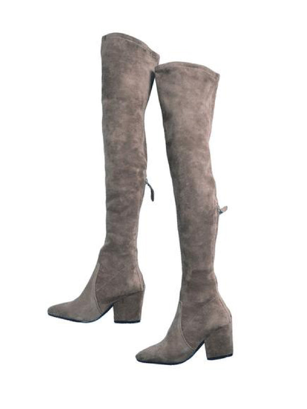 'Carina' Taupe Over The Knee Suede Leather Boots