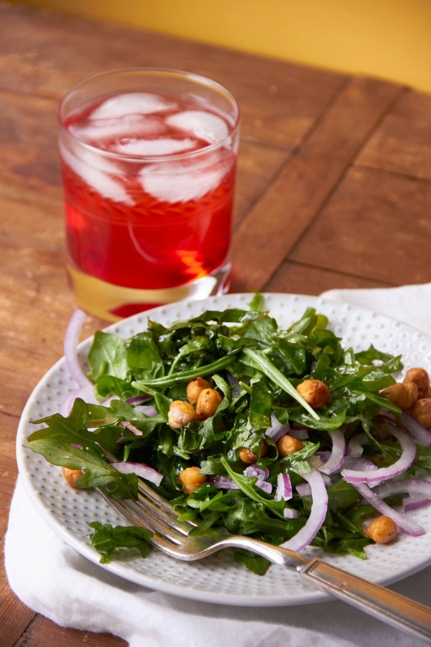 Arugula and Red Onion Salad with Roasted Chickpeas