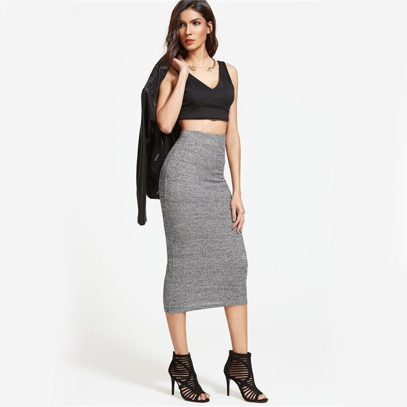 Grey Knit Midi Pencil Skirt