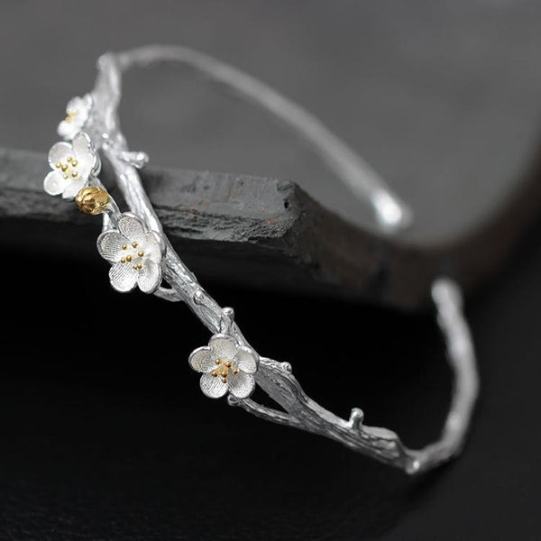Sterling Silver Plum Flower Bangle