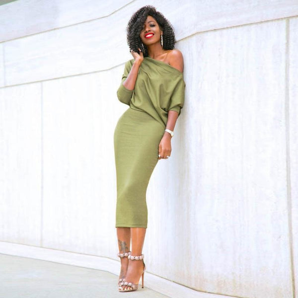 Slinky One Shoulder Batwing Sleeve Dress