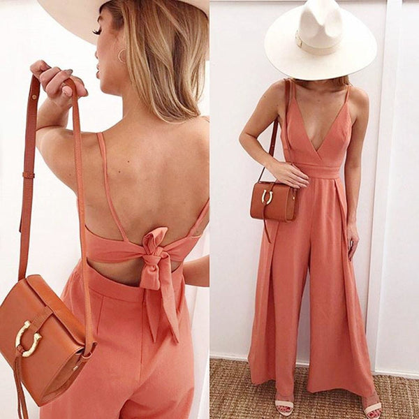 Plunge Back Bow Jumpsuit