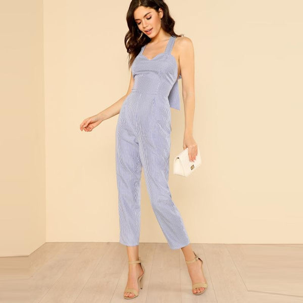 Bow Tie Back Sleeveless Jumpsuit