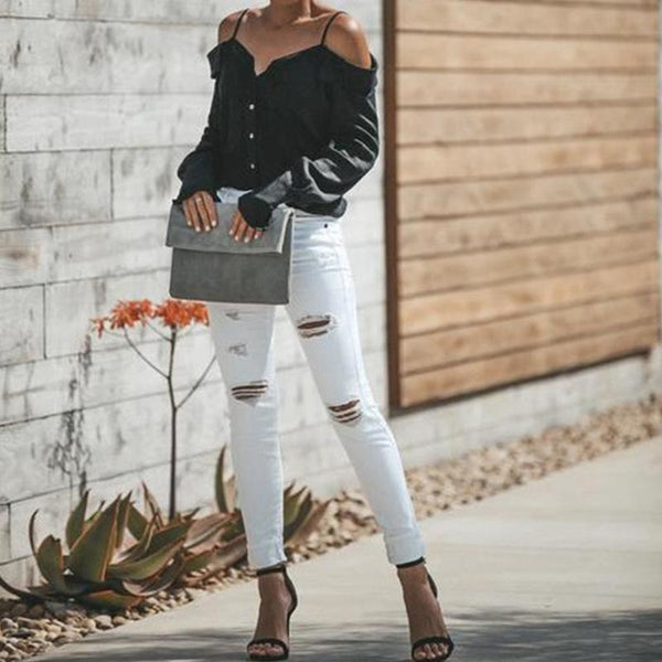Sexy Off Shoulders Sling Shirt