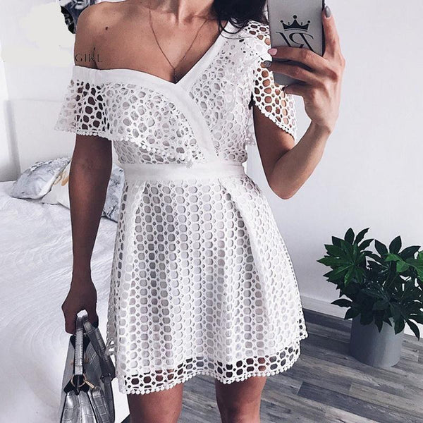 Geovanna Sexy Eyelet Dress