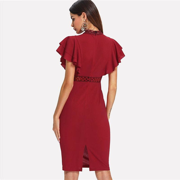 Burgundy Ruffle Sleeve Dress