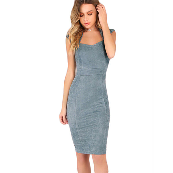 Suede Sheath Cap Sleeve Dress