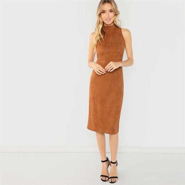 Brown Sleeveless Split Pencil Dress