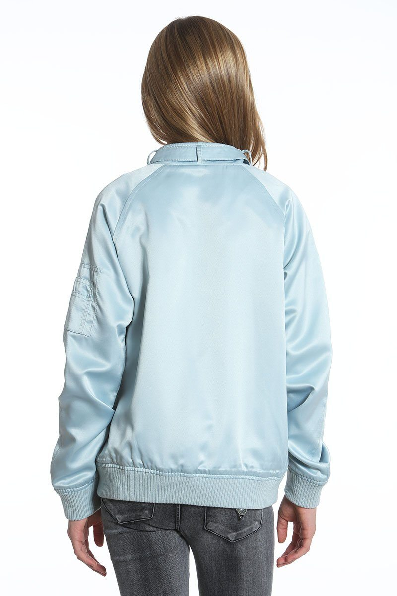 Girl's Washed Satin Boyfriend Bomber Jacket - Members Only Official