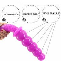 5 Beads Anal Dildo With Handle F60