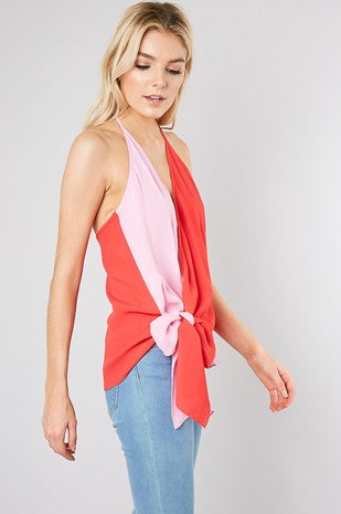 Two Tone Tied Halter