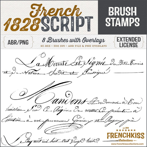 1828 vintage French script Photoshop brushes and overlays.