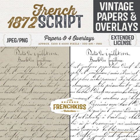 1872 Vintage French Script Digital Papers and Overlays.