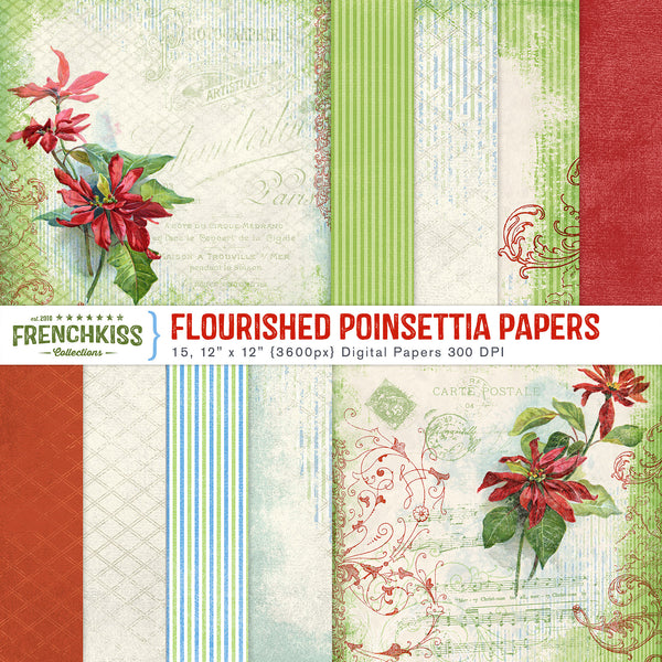 Flourished Poinsettia digital papers.