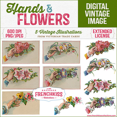 5 Victorian illustrations of hands offering flowers vintage trade card graphics.