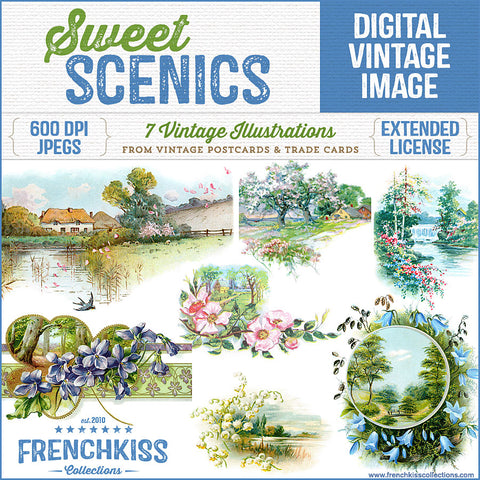 7 sweet landscape digital download illustrations from vintage postcards and Victorian trade cards.