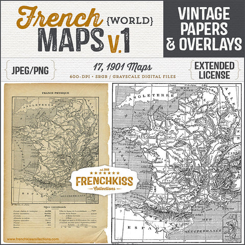 17 pages and overlays of world maps from a 1901 vintage French book.