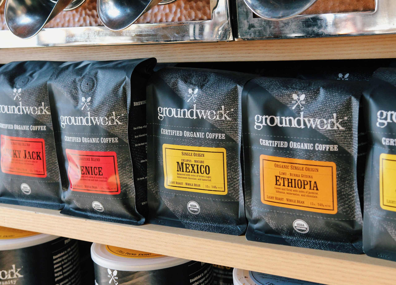 bags of Groundwork coffee lined up on shelf