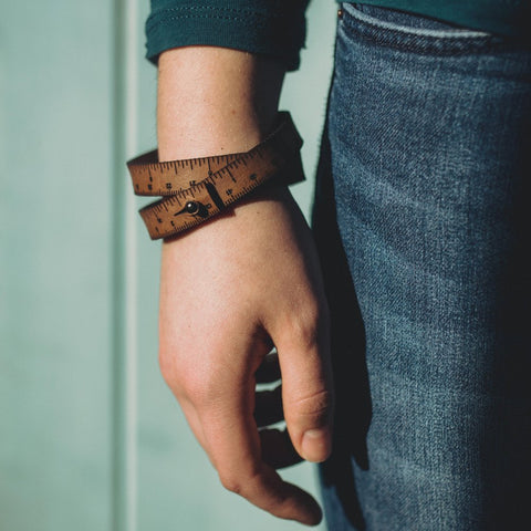 Leather Wrist Ruler - medium brown