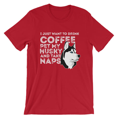 """Husky and Coffee"" Short-Sleeve T-Shirt"