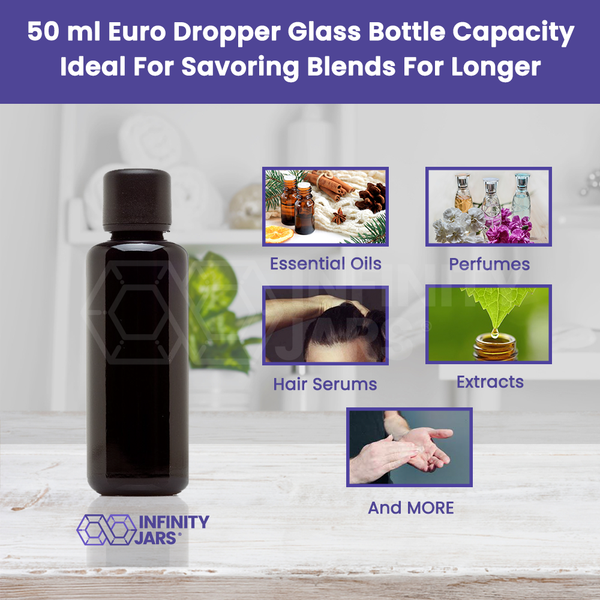 50 ml Glass Essential Oil Bottle with Euro Dropper Cap - InfinityJars
