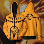 Naruto Hoodies - Naruto Nine Tails Charka Mode Zip Up Hoodie