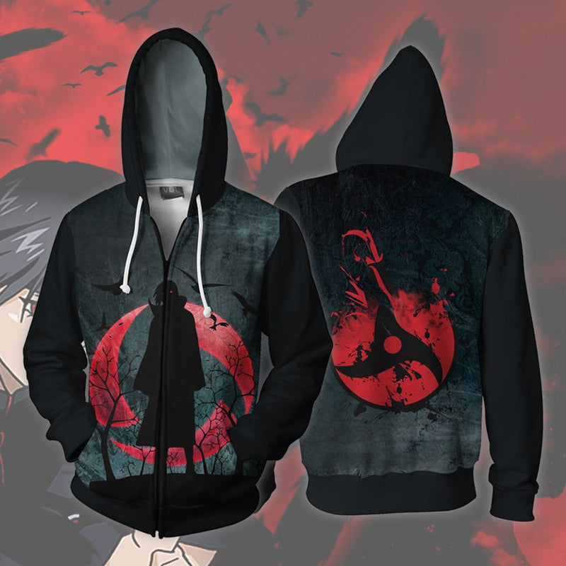 Naruto Hoodies - Naruto Uchiha Itachi Black And Red Hoodie