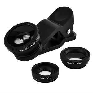 Universal 3 in 1 Clip-on Phone Camera Lens Wide Angle Lens Macro Lens Fisheye Lens for iPhone 7 plus 6s 5S Xiaom Samsung Tablets