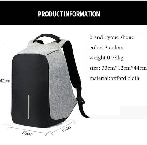 15 Inch Original USB Charging Anti-Theft Backpack